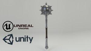 3D slavic iron mace weapon