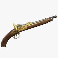 flintlock pistol weapon 3D