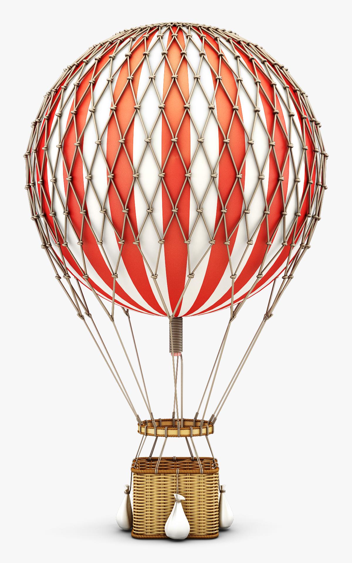 3D hot air balloon v model