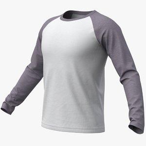 realistic raglan t-shirt long 3D model