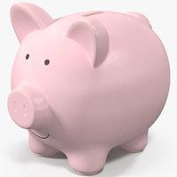 piggy bank pink 3D