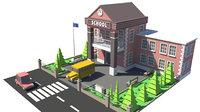 building school bus 3D model