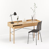 3D oak desk workspace rattan chair model