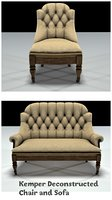 kemper deconstructed sofa chair 3D model