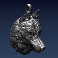 3D wolf pendant