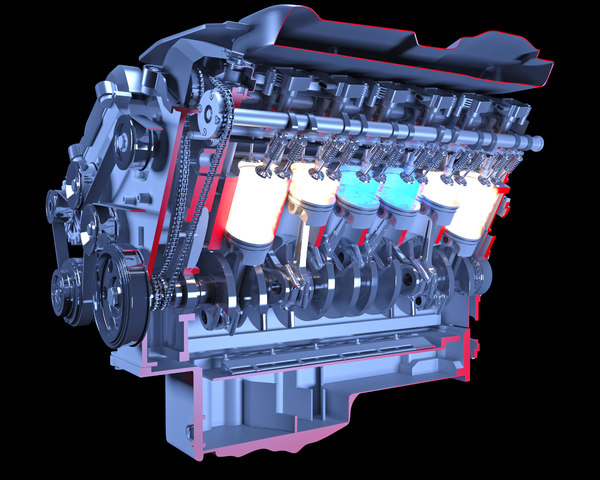 3D cutaway v12 engine ignition