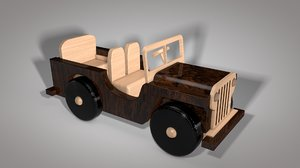 wooden jeep toy 3D model