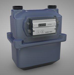3D gas meter bk-250 blue model