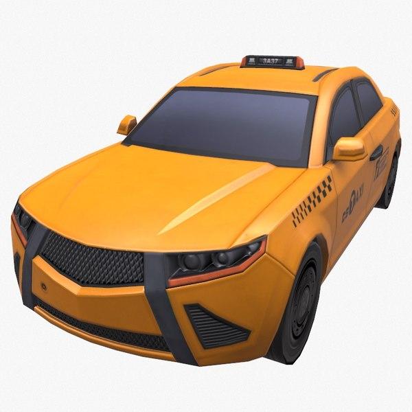 3D model taxi car sedan yellow cab