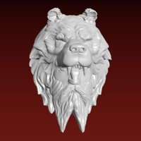 3D model berserker head sculpture