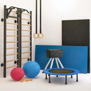 gymnastics equipment sports set 3D model