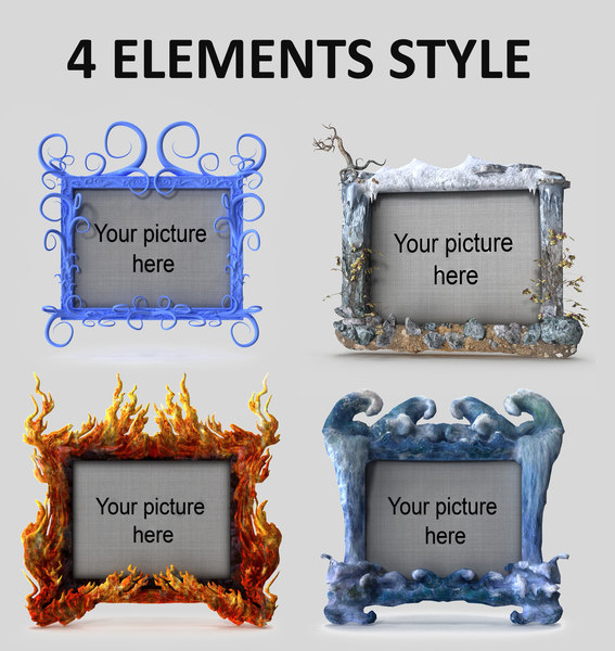 elements style picture frames 3D model