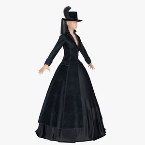 lady retro coat 3D model