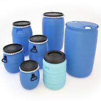 plastic barrels 3D model