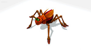3D funny cartoon brown insect