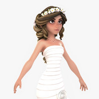 3D model cartoon bride