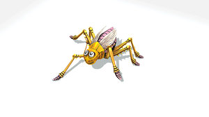funny cartoon white insect 3D model