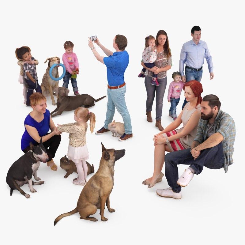 3D human animals dog model