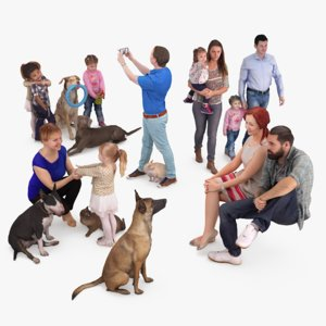 3D human animals dog model