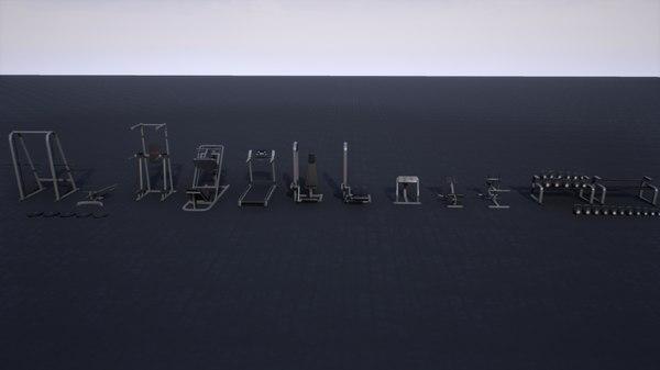 pbr gym props pack 3D model