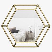 ivbx5703 hexagonal wall mirror 3D model