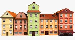 stylised european buildings 3D model
