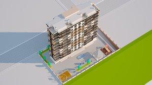 10-storey building 3D model