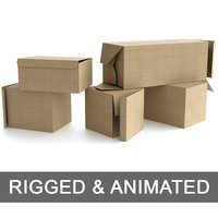 Set of 5 Cardboard Boxes - Rigged and Animated