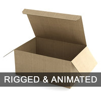 Cardboard Box 130x285cm - Rigged and Animated
