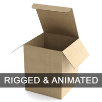 Cardboard Box 195x240cm - Rigged and Animated