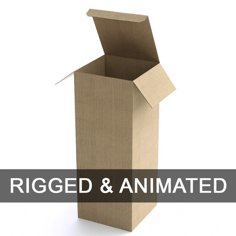 3D model rigged cardboard boxe -