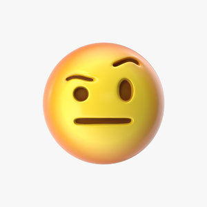 emoji 24 face raised 3D