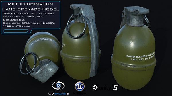 3D model mk1 illumination hand grenade
