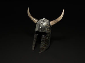 viking helm horned 3D