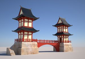 3D japanese twin temples