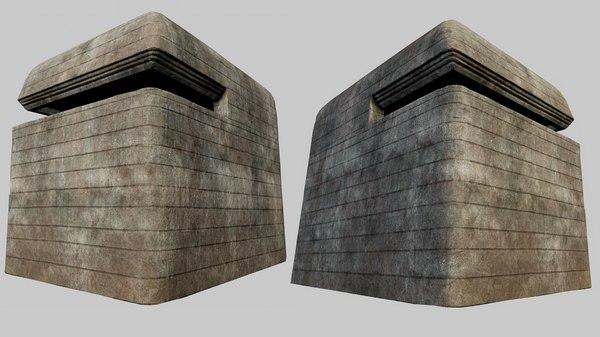 3D concrete bunker 01 pbr