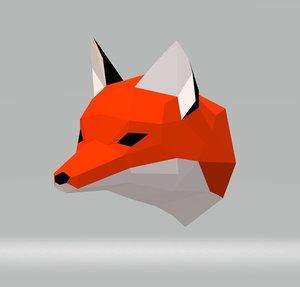 fox papercraft wall 3D model