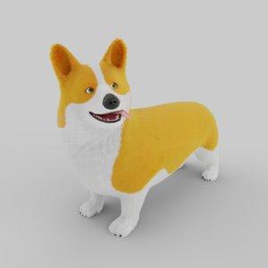 3D model stylized welsh corgi dog
