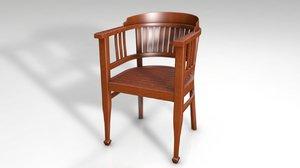 wood arm chair decor 3D model