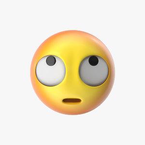 3D model emoji 28 face rolling
