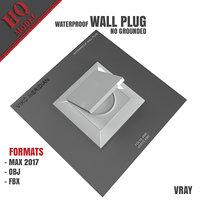 waterproof wall plug grounded 3D model