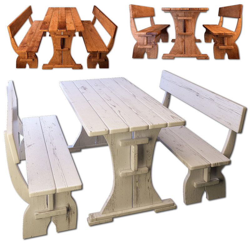 wooden bench table 3D model