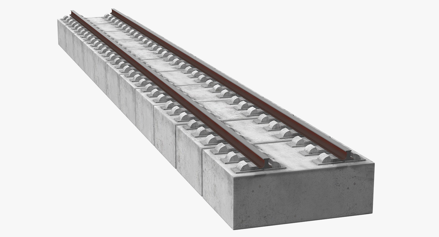 highspeed railway section rail 3D model