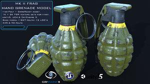 3D mk2 handgrenade highpoly lod model