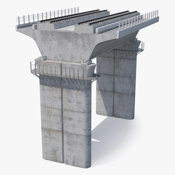 3D rail bridge section model