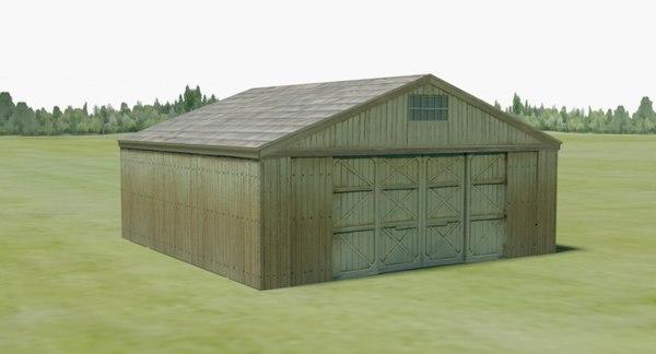 3D model ww1 aircraft hanger