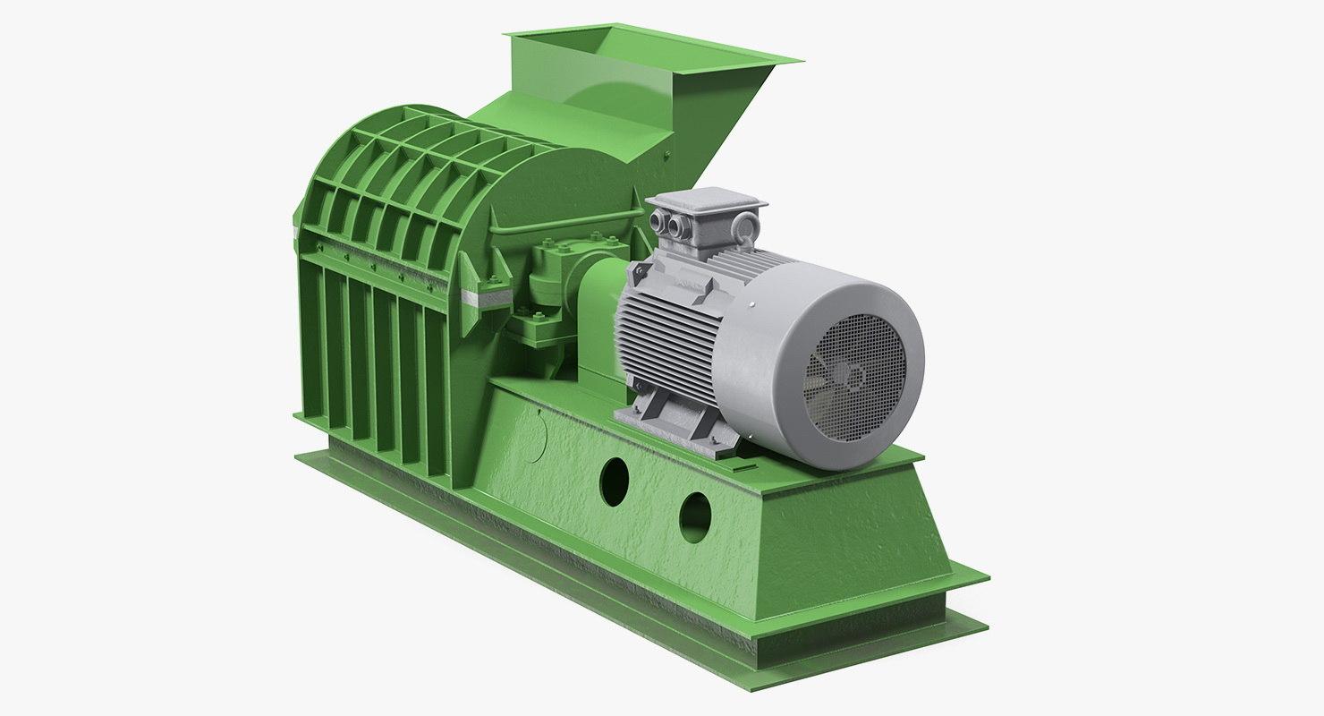 3D wood crusher grinder crushing model