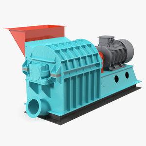 3D grain crusher machine crushing model