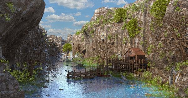 3D river house model