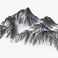 sharp mountain snow peak model